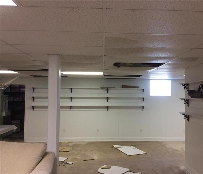 Water Damages - Ceiling tiles and Wet Carpet Before