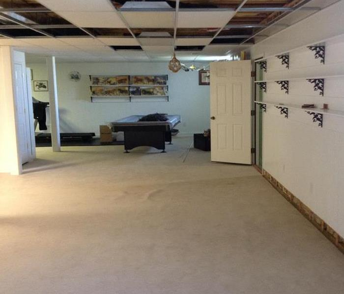 Water Damages - Ceiling tiles and Wet Carpet After