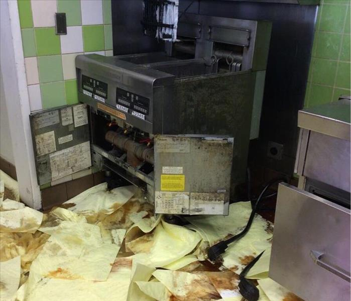 A fryer overflowing