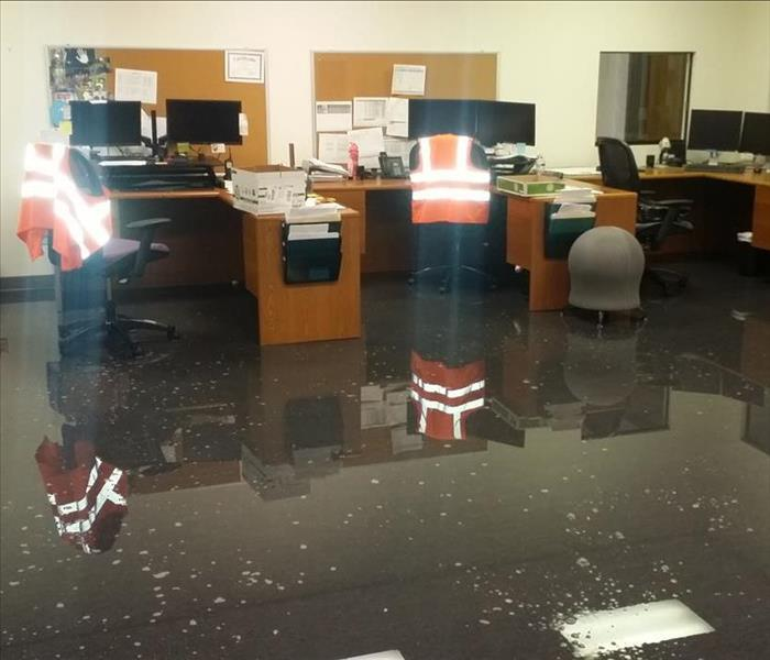 Water damage in office building